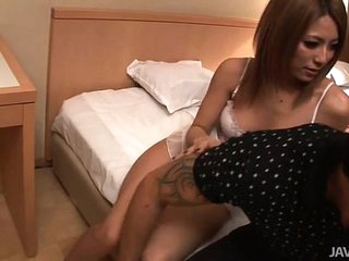 Twosome busty Japanese dolls fuck a horny guy in a caravanserai room
