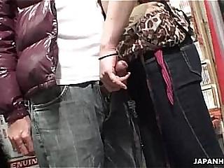 Voyeur catches a couple have oral in a sex shop